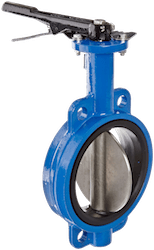 A zero offset butterfly valve with a lever handle