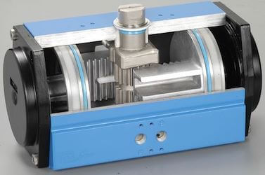 Double acting rack-and-pinion rotary actuators with one rack on the left and one on the right