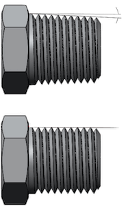 Tapered (top) vs. Parallel (bottom) Thread