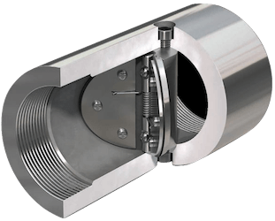Butterfly, or wafer, check valve