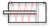 ISO symbol for single acting cylinder with spring in the minus chamber