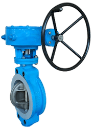 An eccentric butterfly valve with a hand wheel on the right
