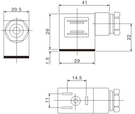 Dimensions DIN-A connector solenoid valve